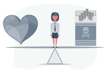 Heart and cigarette on seesaw. Illustration