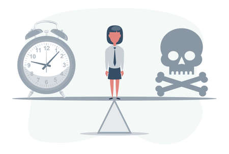 Deadline. Skull with a clock on seesaw. Not enough time. Vector illustration Illustration