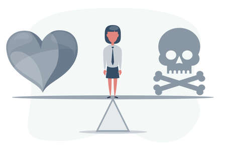 Skull and heart on seesaw. Choosing healthcare or die concept. Illustration