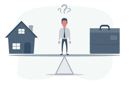 Home and business on scales icon. Weight between work, money and family. Balance life business concept. Man balances Family versus money.