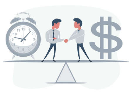 Businessman standing on seesaw between clock and bag with dollar symbol - money and time. Vector flat design illustration.