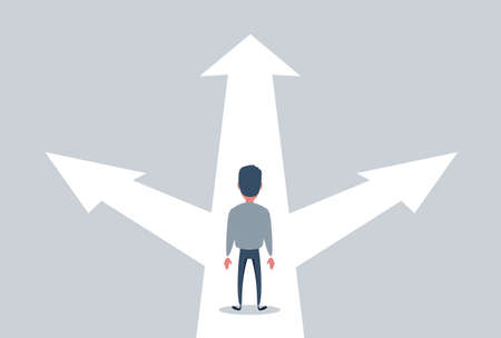 confused businessman standing at a crossroads , businessman standing in front of arrows as symbol for choice, career path or opportunities, business concept decision