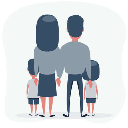 Back View Illustration of a Family Illustration