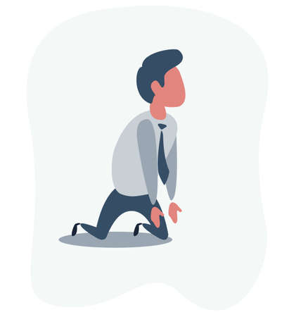 Sad unhappy businessman office worker manager standing on his knees and prey.
