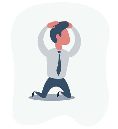 Sad unhappy businessman office worker manager standing on his knees and prey. Vector flat cartoon illustration