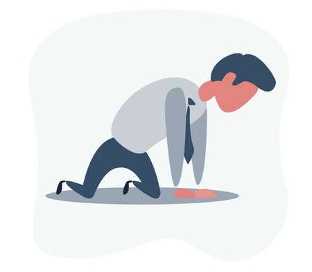 Sad unhappy businessman office worker manager standing on his knees and prey. Vektoros illusztráció