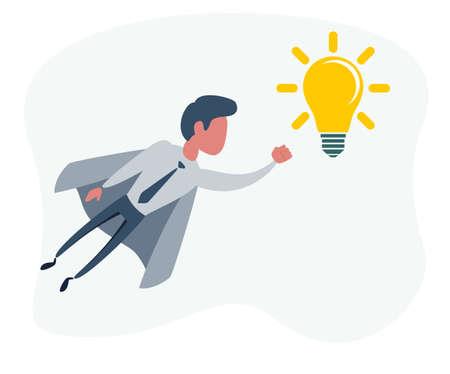 Businessman superhero holding creative lightbulb. Business idea concept Ilustracja