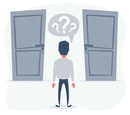 Man standing in front of two doors, unable to make the right decision concept with question marks above his head