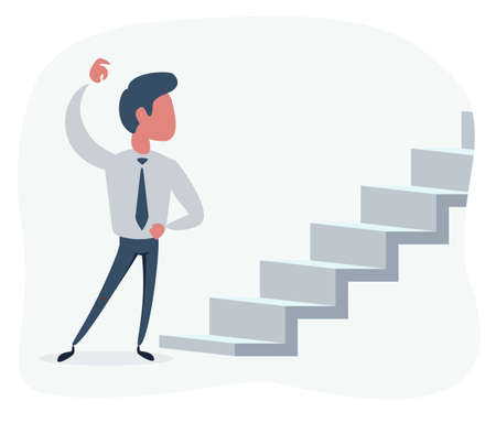 Flat Man Looking at the stair with question of new opportunities or challenges.