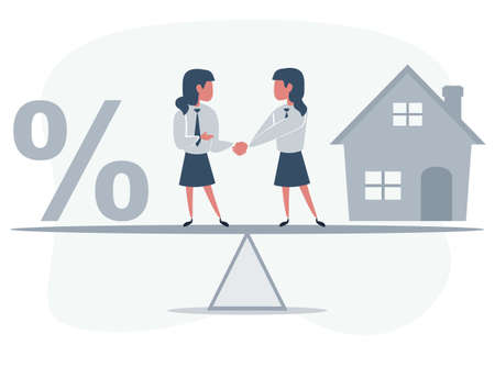 Business partners shaking hands as a symbol of unity. Business people standing on seesaw between house and percent sign. woman buys a house.