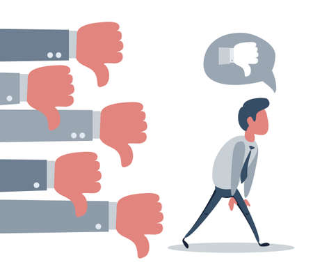 Fired upset businessman going to nowhere from many hands with thumbs down. Ilustración de vector