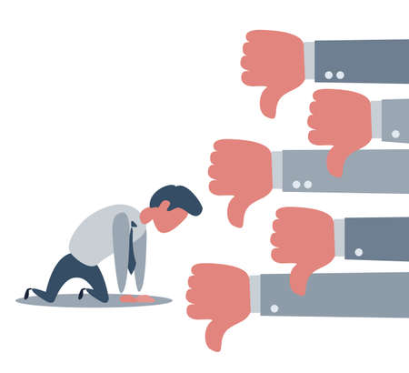 Group of Business man show dislike or unlike thumbs down hand to Sad businessman character on the knees Ilustración de vector
