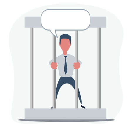 Sad businessman with speech bubble in prison behind the bars. Financial crime concept.