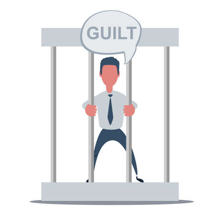 Business failure guilty concept. Young man behind the bars in prison holding bars isolated on white. Ilustracje wektorowe