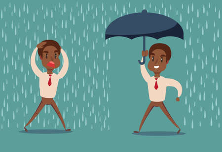 Man in the rain. Businessman go from the rain while another businessman has the umbrella.