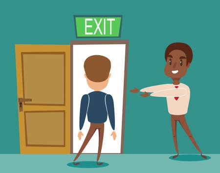 Black african american businessman invite men to opened door