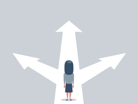 Business decision concept vector illustration. Businesswoman standing on the crossroads with three arrows and directions.