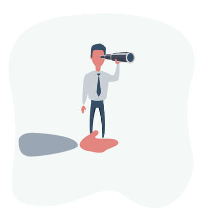 vector illustration of giant hand helping a businessman on top using telescope. describe planning and strategy business. business concept