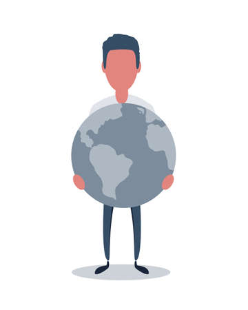 Vector illustration of the man is holding earth in his hands