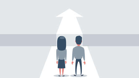 Business challenge and solution vector concept with business people standing over big gap. Symbol of overcoming obstacles, strategy, analysis, creativity. Ilustração Vetorial