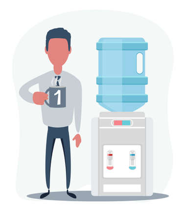 Water cooler. Office. Young male manager holding a cup. Coffee break.