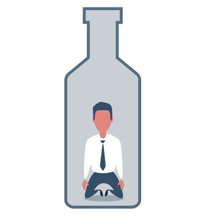 Sick drunk man in the bottle of wine. Concept flat vector illustration of alcohol addiction.