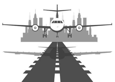 Passenger plane fly up over take-off runway from airport at sunset. Flat design illustration.