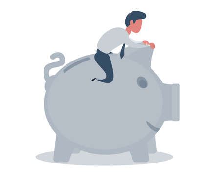 Businessman sitting on a piggy bank. Banking concept.
