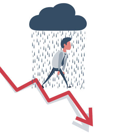 Businessman On Falling Down Chart. Businessman in the rain. Business Concept Illustration.