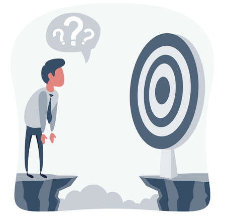 Businessman in front of a gap and looking for the target. Goal achievement concept. Vector illustration.