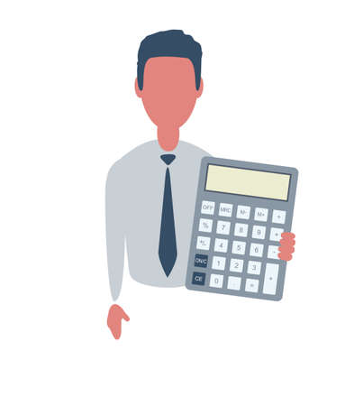 Businessman or clerk. Male character in trendy simple style with objects, flat vector illustration. Business concept. Isolated on background.
