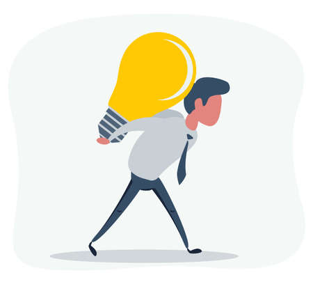 casual businessman with business idea light bulb on his back 向量圖像