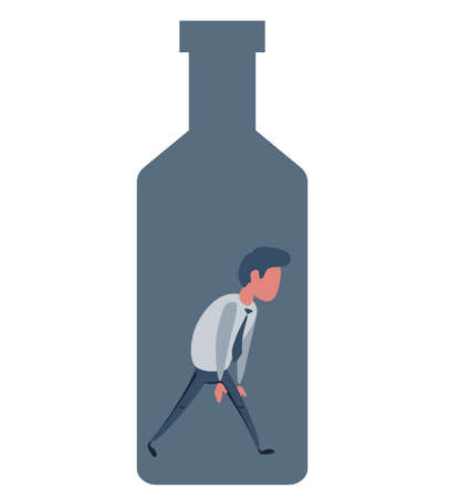 Alcohol and addiction, Young male character trapped inside a bottle, health problems  イラスト・ベクター素材