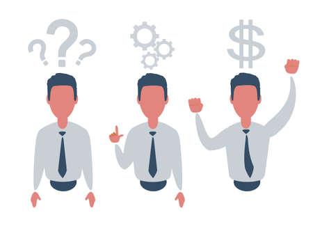 Thinking. Businessman solving a problem business concept . Stock Illustratie