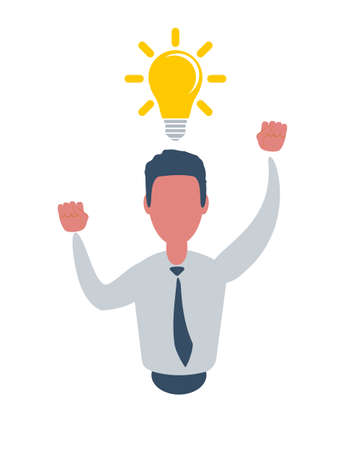 A young man with a light bulb over his head, isolated against a white background. Idea Generation. Creating Business Idea. New Technologies
