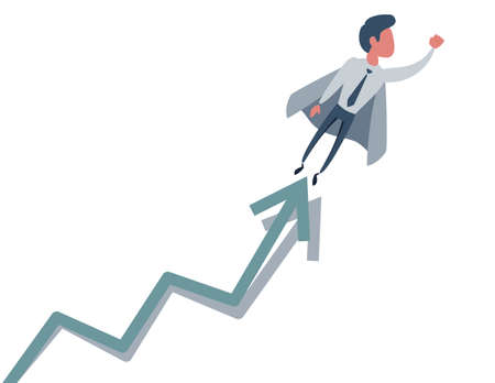 Business concept illustration of a superhero businessman taking the graphic chart up.