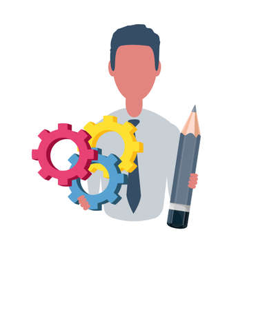 Businessman or clerk holds gears and pencil. Male character in trendy simple style with objects, flat vector illustration. Business concept.