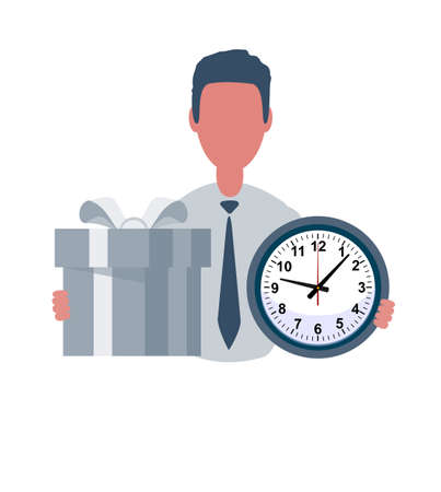 Businessman or clerk holds a watch and a gift. Male character in trendy simple style with objects, flat vector illustration. Business concept. Stock Illustratie