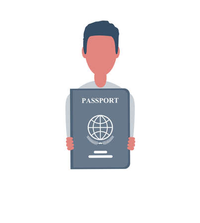 Businessman or clerk holds a passport. Male character in trendy simple style with objects, flat vector illustration. Business concept.