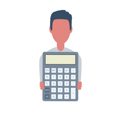 Businessman or clerk holds a calculator. Male character in trendy simple style with objects, flat vector illustration. Business concept. Isolated on background.