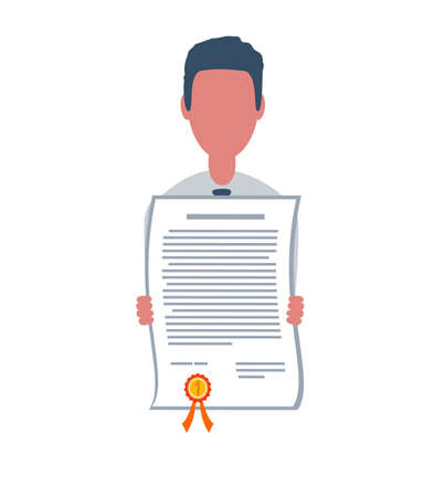 Businessman or clerk holds a certificate. Male character in trendy simple style with objects, flat illustration. Business concept. Isolated on white background. Stock Illustratie