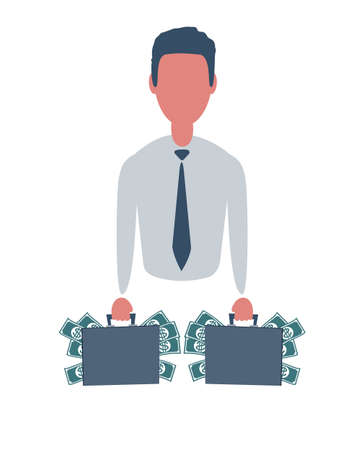 Businessman or clerk keeps a case full of money. Male character in trendy simple style with objects, flat vector. Business concept. Isolated on white background. Stock Illustratie