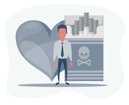 Flat illustration of a human, heart and cigarette concept of risk of the circulatory system due to nicotine smoke. Smoking cigarette destroying health, heart disease.