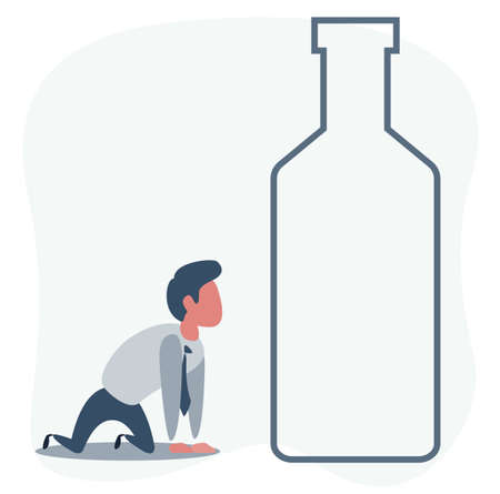Sick drunk man on the knees beside the bottle of wine. Concept flat vector illustration of alcohol addiction.