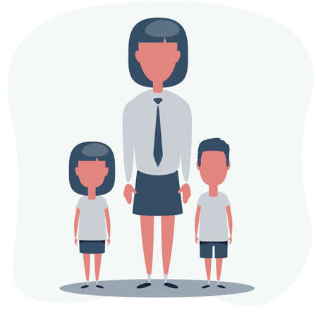 Woman with children. Mother with the daughter and son. Stock Illustratie