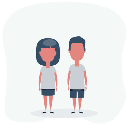 Boy and girl in T-shirt and shorts icon on background Stock Illustratie