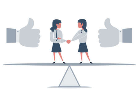 Business partners shaking hands as a symbol of unity. Businessman standing on seesaw. Stock Illustratie