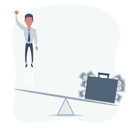 Business startup concept. Vector illustration with a businessman flying up and a briefcase full of money.