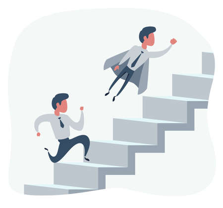 Super businessman in cape flying pass another businessman climbing stairs. Business competition concept.