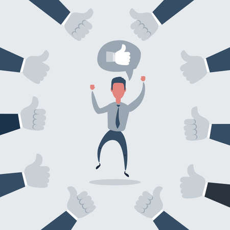 Happy and proud businessman with many thumbs up hands around him. Vector illustration Stock Illustratie